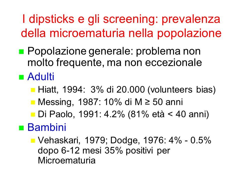 I dipsticks e gli screening: prevalenza della microematuria nella popolazione Popolazione generale: problema non molto frequente, ma non eccezionale A