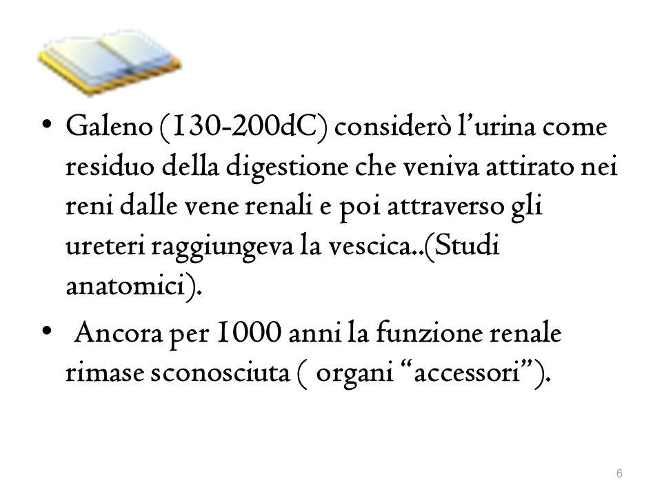 Galeno (130-200dC) considerò lurina come residuo della digestione che veniva attirato nei reni dalle vene renali e poi attraverso gli ureteri raggiung