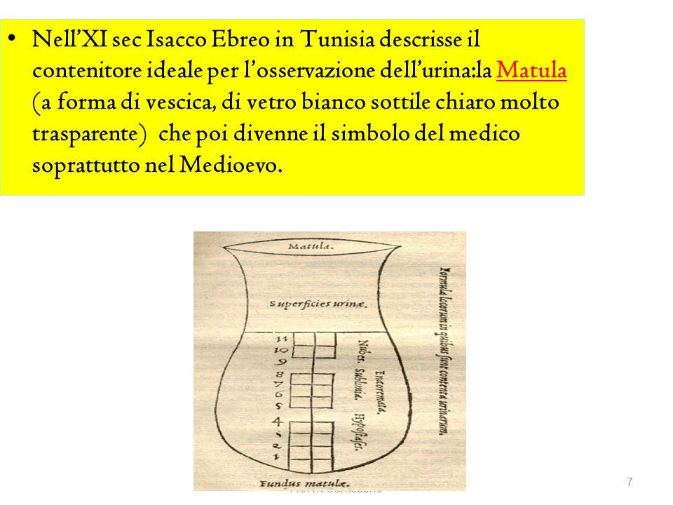 NellXI sec Isacco Ebreo in Tunisia descrisse il contenitore ideale per losservazione dellurina:la Matula (a forma di vescica, di vetro bianco sottile
