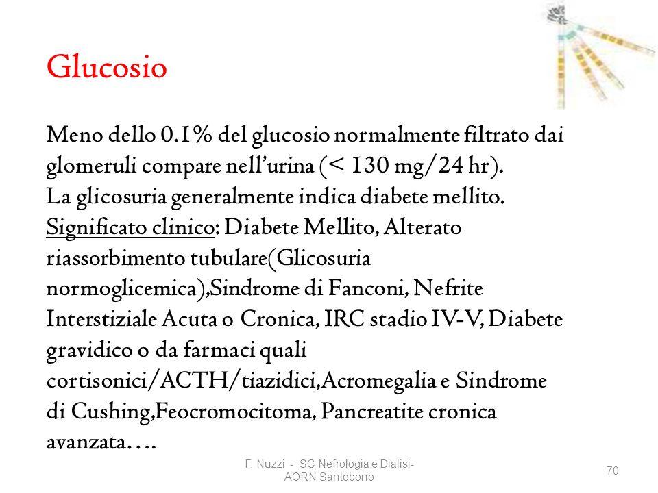 F. Nuzzi - SC Nefrologia e Dialisi- AORN Santobono 70 Glucosio Meno dello 0.1% del glucosio normalmente filtrato dai glomeruli compare nellurina (< 13