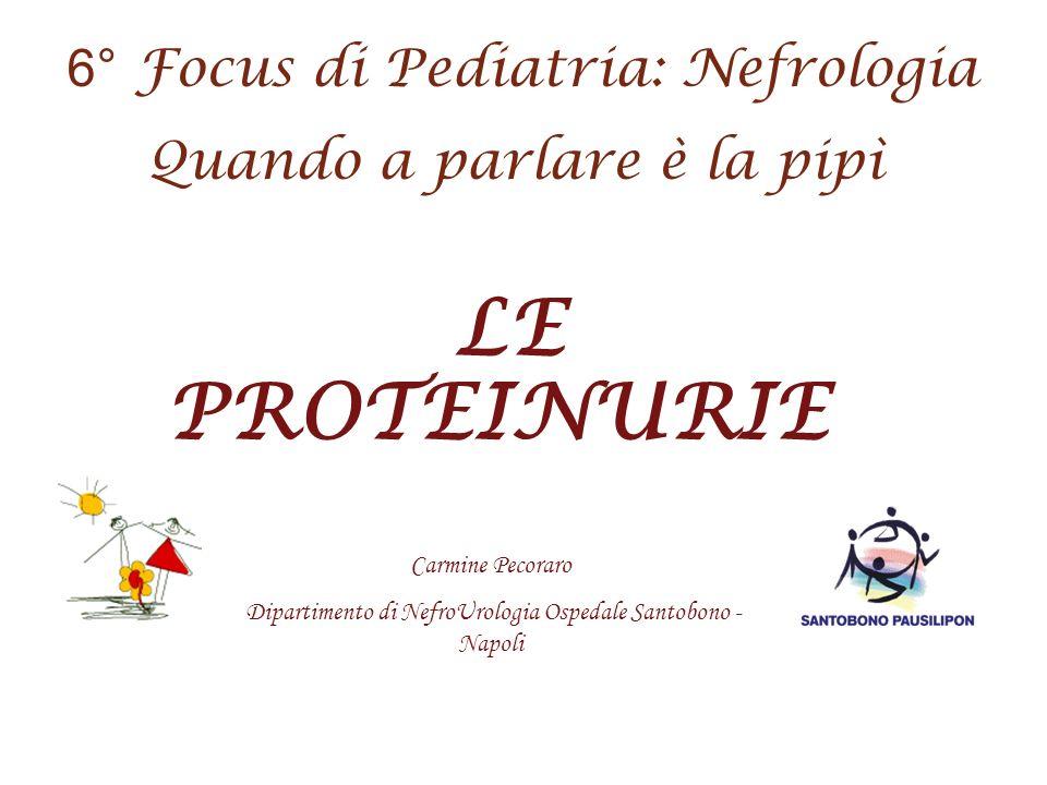 LE PROTEINURIE Carmine Pecoraro Dipartimento di NefroUrologia Ospedale Santobono - Napoli 6 ° Focus di Pediatria: Nefrologia Quando a parlare è la pip