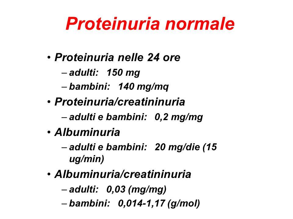 Proteinuria normale Proteinuria nelle 24 ore –adulti: 150 mg –bambini: 140 mg/mq Proteinuria/creatininuria –adulti e bambini: 0,2 mg/mg Albuminuria –a