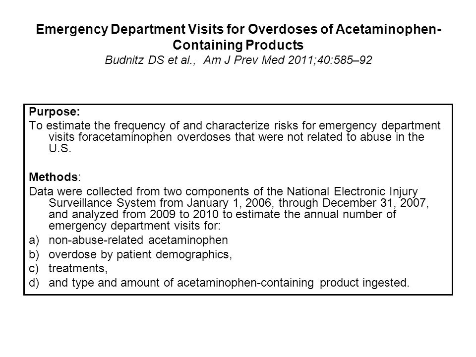 Emergency Department Visits for Overdoses of Acetaminophen- Containing Products Budnitz DS et al., Am J Prev Med 2011;40:585–92 Purpose: To estimate t