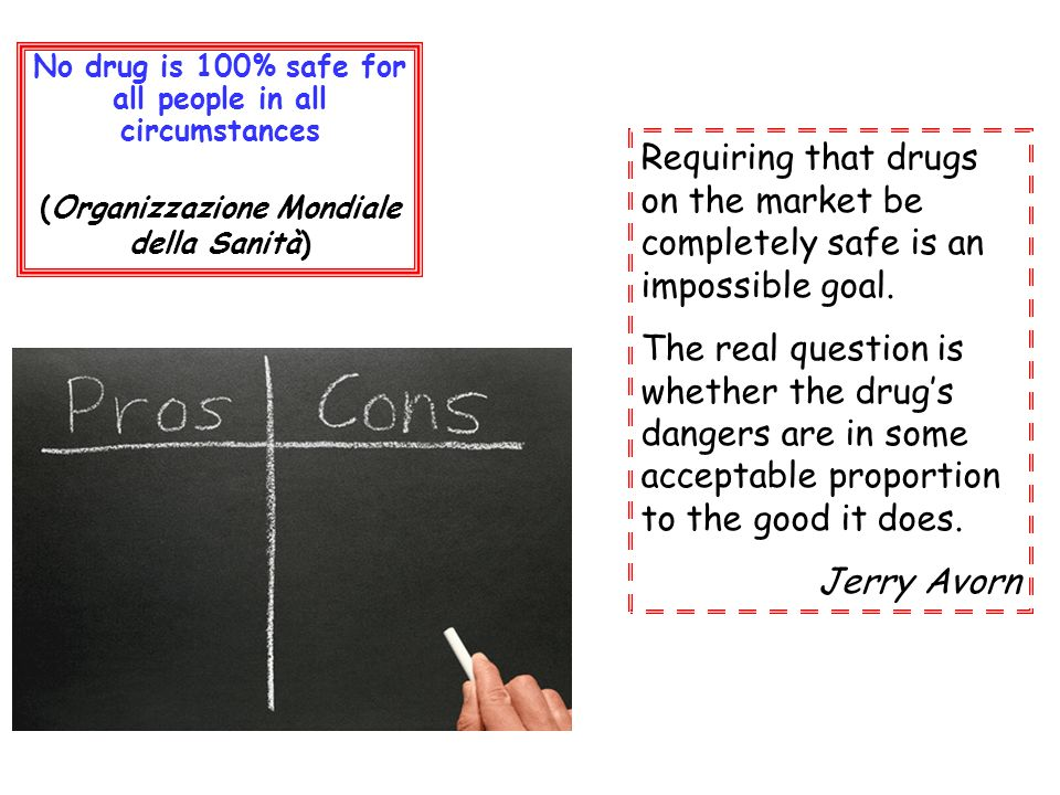 Requiring that drugs on the market be completely safe is an impossible goal. The real question is whether the drugs dangers are in some acceptable pro