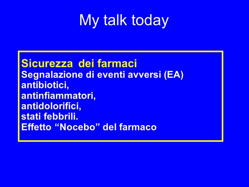 My talk today Sicurezza dei farmaci Segnalazione di eventi avversi (EA) antibiotici, antinfiammatori, antidolorifici, stati febbrili.