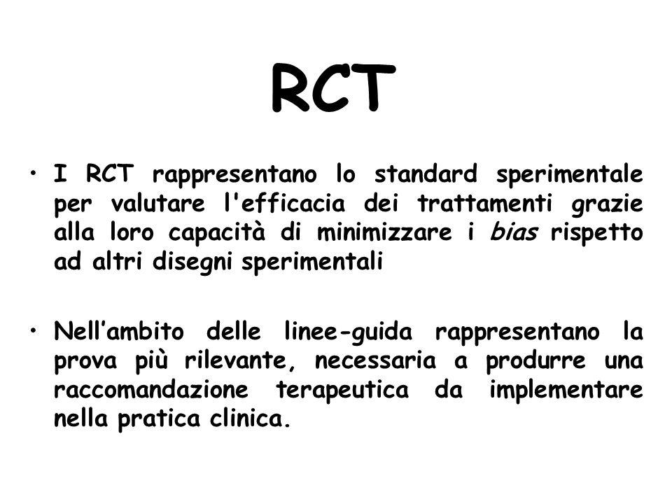 RCT I RCT rappresentano lo standard sperimentale per valutare l'efficacia dei trattamenti grazie alla loro capacità di minimizzare i bias rispetto ad