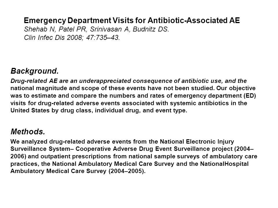 Emergency Department Visits for Antibiotic-Associated AE Shehab N, Patel PR, Srinivasan A, Budnitz DS. Clin Infec Dis 2008; 47:735–43. Background. Dru