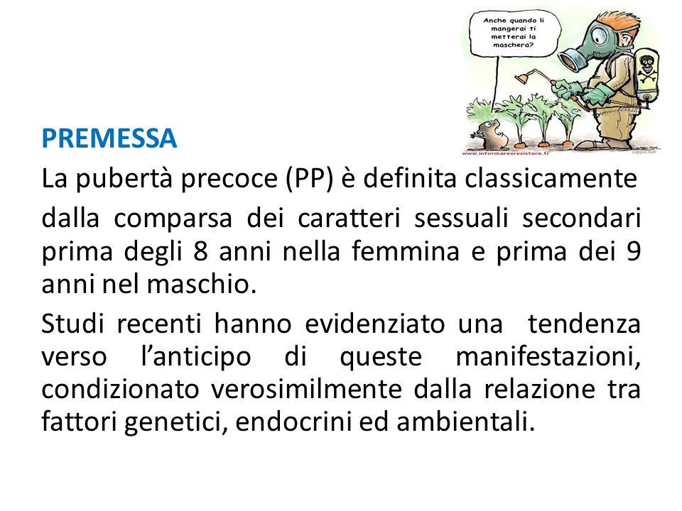 PREMESSA La pubertà precoce (PP) è definita classicamente dalla comparsa dei caratteri sessuali secondari prima degli 8 anni nella femmina e prima dei
