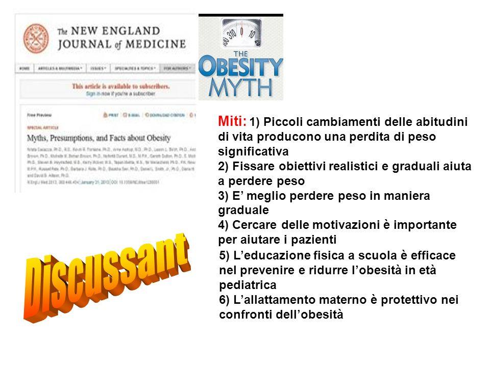 Miti: 1) Piccoli cambiamenti delle abitudini di vita producono una perdita di peso significativa 2) Fissare obiettivi realistici e graduali aiuta a pe
