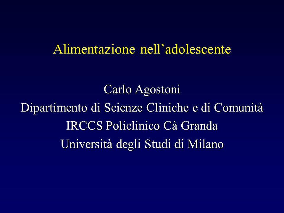 Alimentazione nelladolescente Carlo Agostoni Dipartimento di Scienze Cliniche e di Comunità IRCCS Policlinico Cà Granda Università degli Studi di Milano