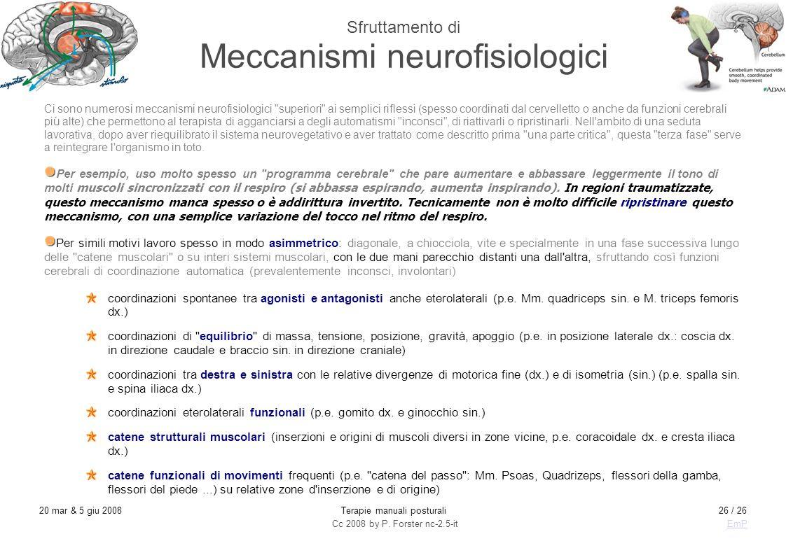 Cc 2008 by P. Forster nc-2.5-itEmP 20 mar & 5 giu 2008Terapie manuali posturali26 / 26 Sfruttamento di Meccanismi neurofisiologici Ci sono numerosi me