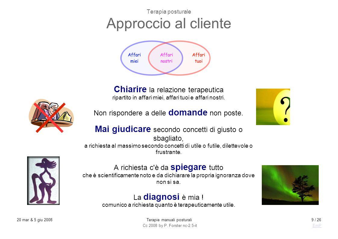 Cc 2008 by P. Forster nc-2.5-itEmP 20 mar & 5 giu 2008Terapie manuali posturali9 / 26 Terapia posturale Approccio al cliente Chiarire la relazione ter