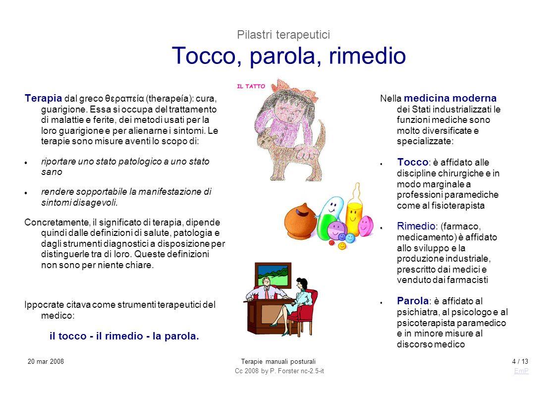 Cc 2008 by P. Forster nc-2.5-itEmP 20 mar 2008Terapie manuali posturali4 / 13 Pilastri terapeutici Tocco, parola, rimedio Terapia dal greco θεραπεία (