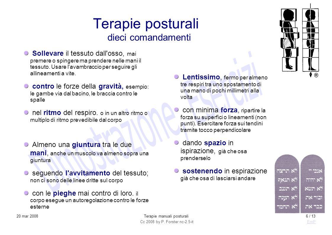 Cc 2008 by P. Forster nc-2.5-itEmP 20 mar 2008Terapie manuali posturali6 / 13 Sollevare il tessuto dall'osso, mai premere o spingere ma prendere nelle