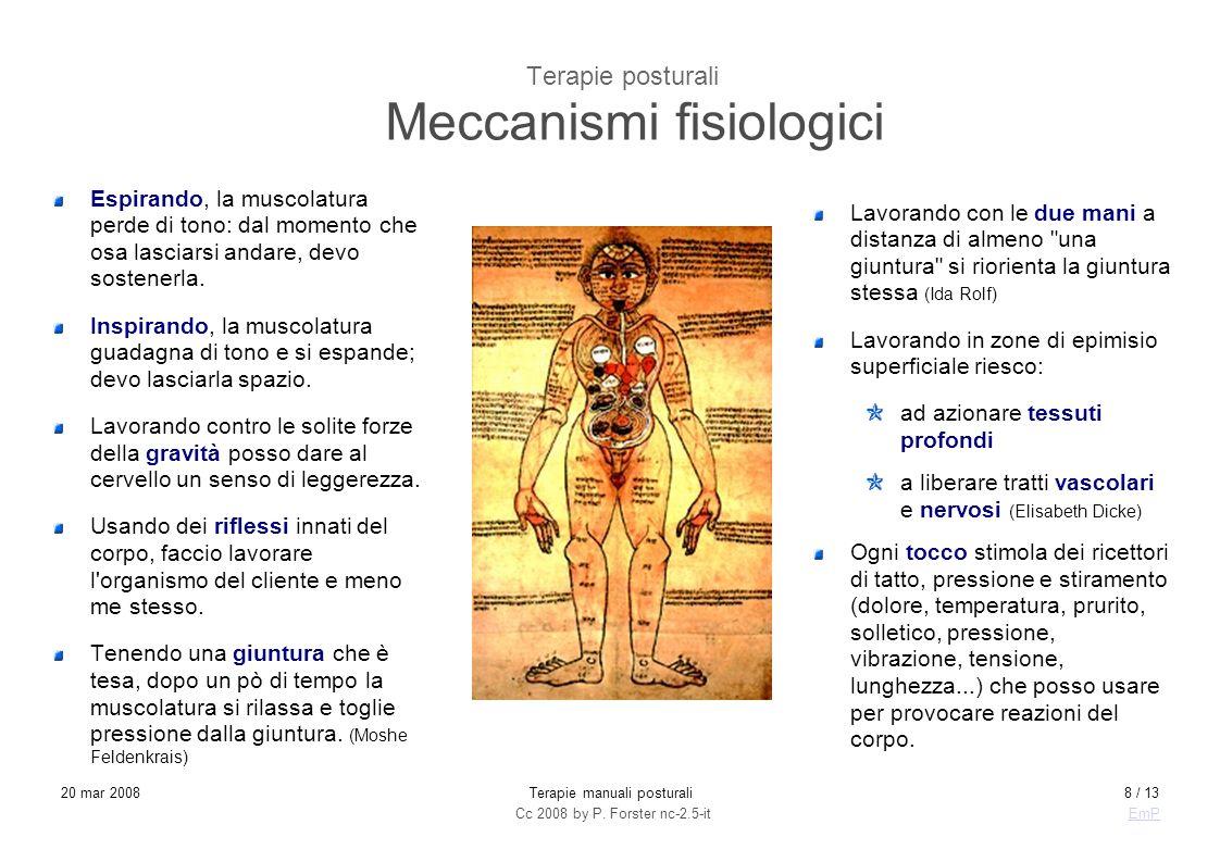 Cc 2008 by P. Forster nc-2.5-itEmP 20 mar 2008Terapie manuali posturali8 / 13 Terapie posturali Meccanismi fisiologici Espirando, la muscolatura perde