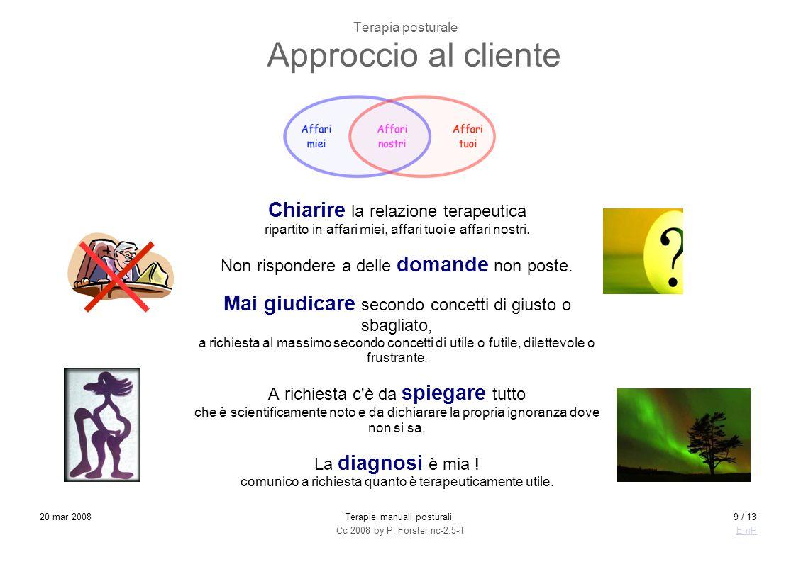 Cc 2008 by P. Forster nc-2.5-itEmP 20 mar 2008Terapie manuali posturali9 / 13 Terapia posturale Approccio al cliente Chiarire la relazione terapeutica