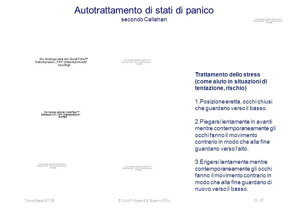 Tutoria Stress 061106© Cc by P. Forster & B. Buser nc-2.5-it19 / 27 Autotrattamento di stati di panico secondo Callahan Trattamento dello stress (come