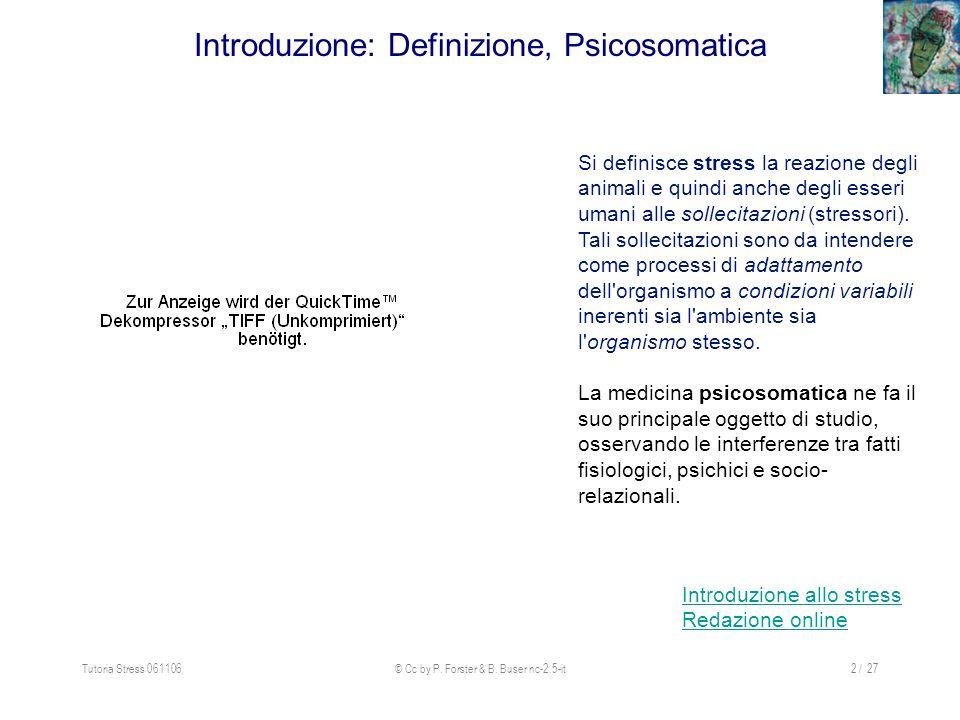 Tutoria Stress 061106© Cc by P. Forster & B. Buser nc-2.5-it2 / 27 Introduzione: Definizione, Psicosomatica Si definisce stress la reazione degli anim