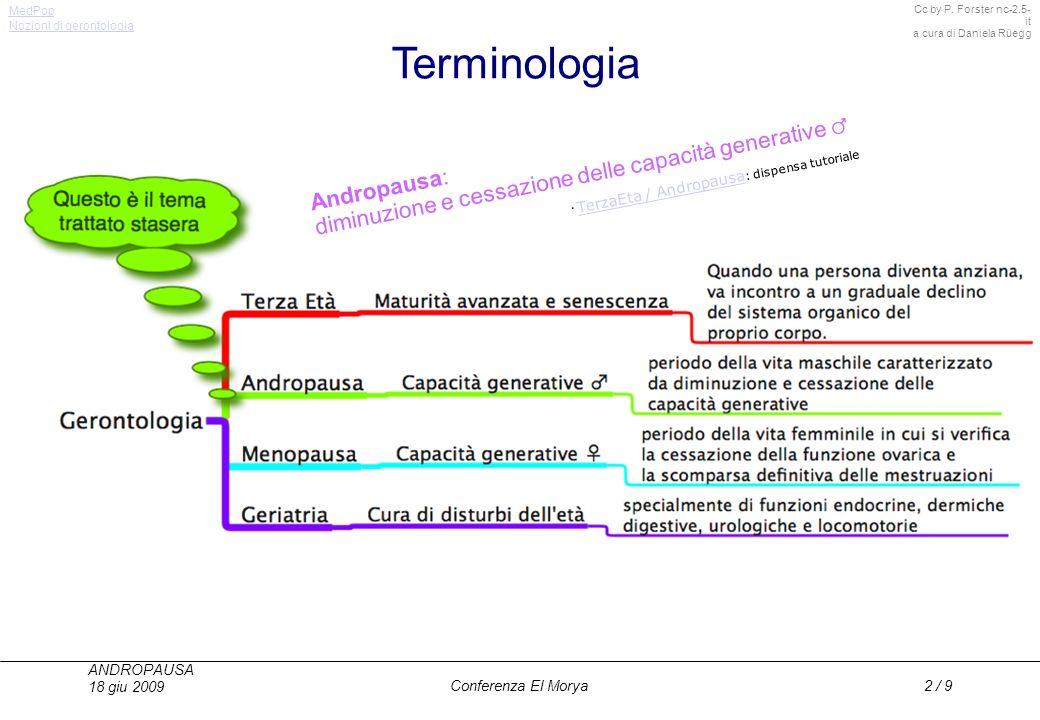 Cc by P. Forster nc-2.5- it a cura di Daniela Rüegg MedPop ANDROPAUSA 18 giu 2009 Conferenza El Morya2 / 9 Terminologia Andropausa: diminuzione e cess