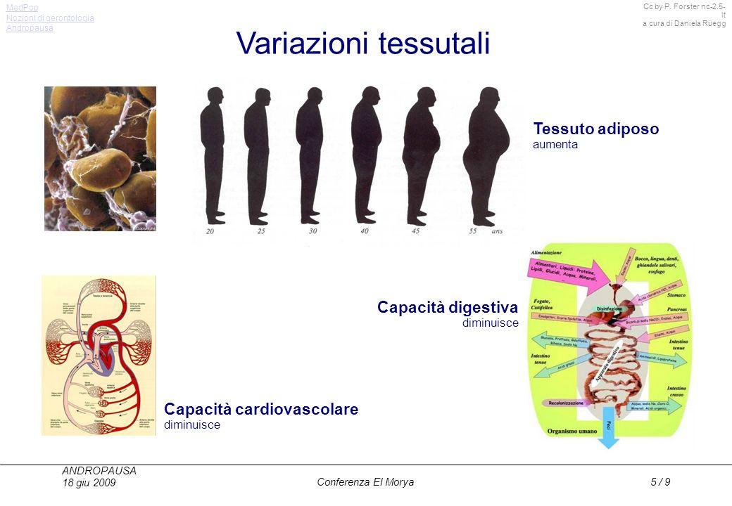 Cc by P. Forster nc-2.5- it a cura di Daniela Rüegg MedPop ANDROPAUSA 18 giu 2009 Conferenza El Morya5 / 9 Variazioni tessutali Capacità cardiovascola