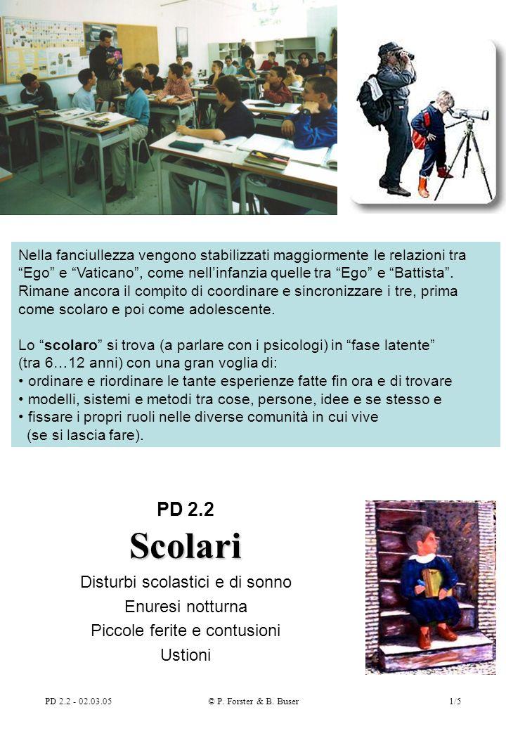 PD 2.2 - 02.03.05© P. Forster & B. Buser1/5 Scolari PD 2.2 Scolari Disturbi scolastici e di sonno Enuresi notturna Piccole ferite e contusioni Ustioni