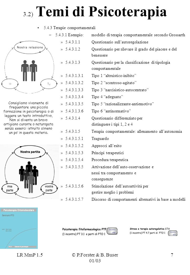 LR MmP 1.5© P.Forster & B. Buser 01/03 8 4.1) Temi di Psicopatologia