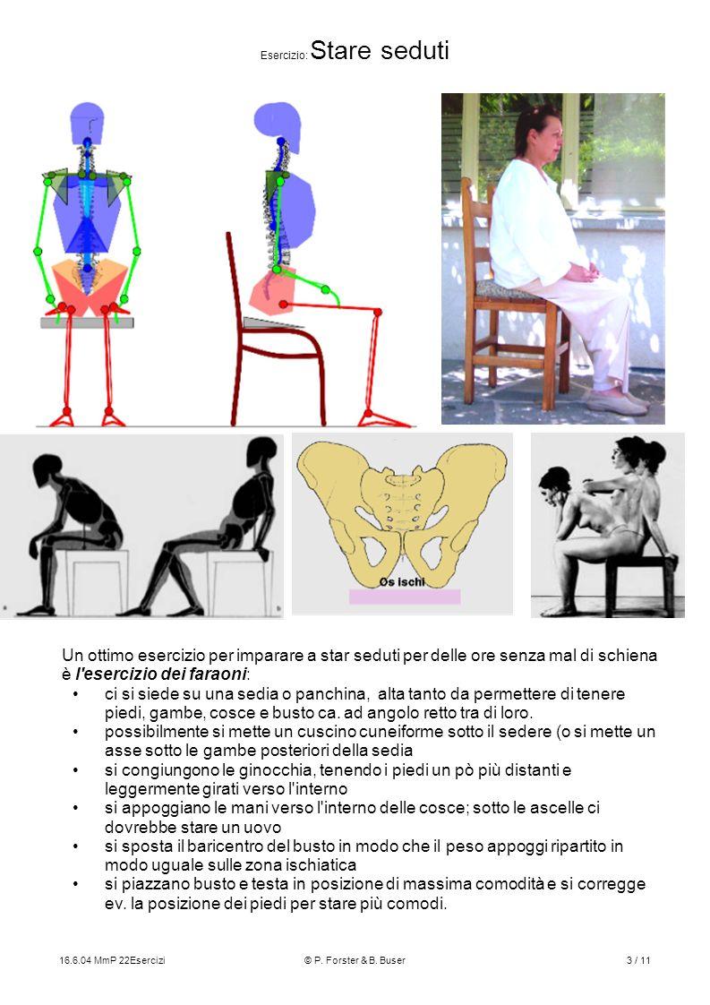 16.6.04 MmP 22Esercizi© P. Forster & B. Buser3 / 11 Esercizio: Stare seduti Un ottimo esercizio per imparare a star seduti per delle ore senza mal di