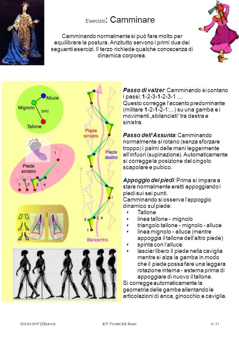 16.6.04 MmP 22Esercizi© P. Forster & B. Buser4 / 11 Esercizio : Camminare Passo di valzer: Camminando si contano i passi: 1-2-3-1-2-3-1.... Questo cor