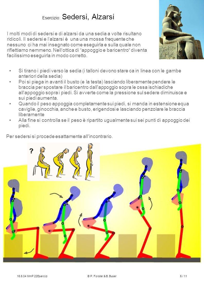 16.6.04 MmP 22Esercizi© P. Forster & B. Buser5 / 11 Esercizio: Sedersi, Alzarsi I molti modi di sedersi e di alzarsi da una sedia a volte risultano ri