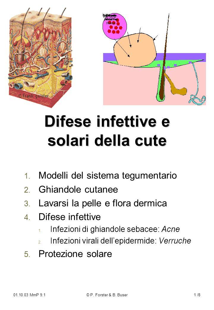 01.10.03 MmP 9.1© P. Forster & B. Buser1 /8 Difese infettive e solari della cute 1. 1. Modelli del sistema tegumentario 2. 2. Ghiandole cutanee 3. 3.