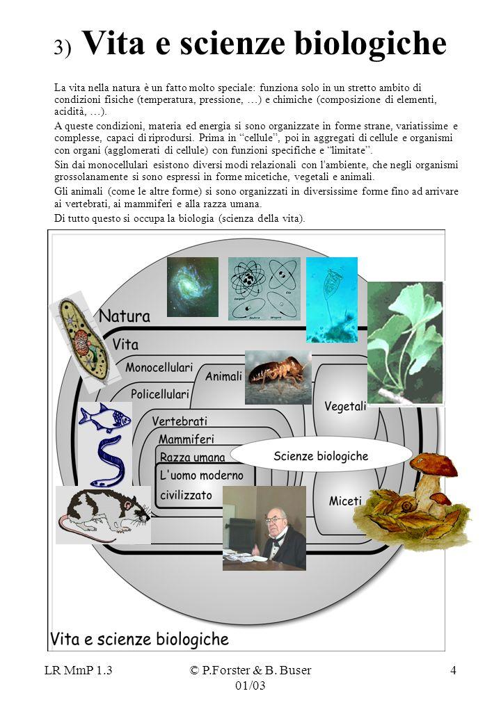 LR MmP 1.3© P.Forster & B. Buser 01/03 4 3) Vita e scienze biologiche La vita nella natura è un fatto molto speciale: funziona solo in un stretto ambi