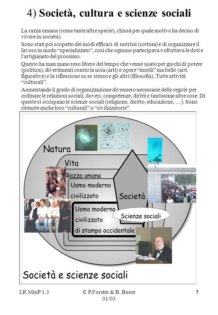 LR MmP 1.3© P.Forster & B. Buser 01/03 5 4) Società, cultura e scienze sociali La razza umana (come tante altre specie), chissà per quale motivo ha de