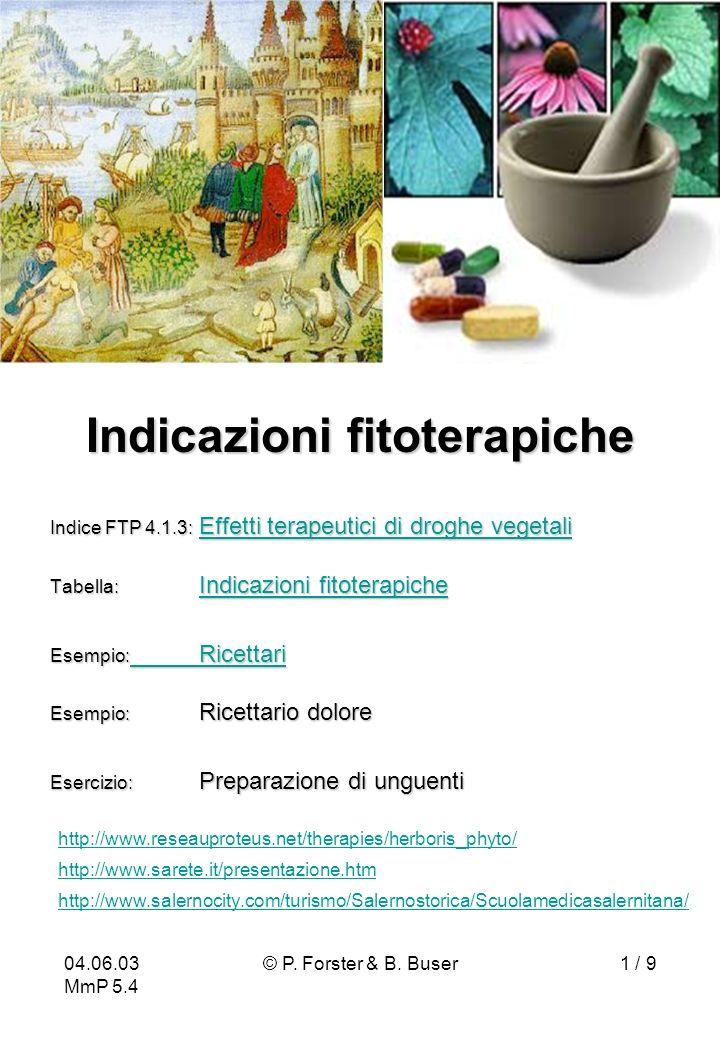 04.06.03 MmP 5.4 © P. Forster & B. Buser1 / 9 Indicazioni fitoterapiche Indice FTP 4.1.3: Effetti terapeutici di droghe vegetali Effetti terapeutici d