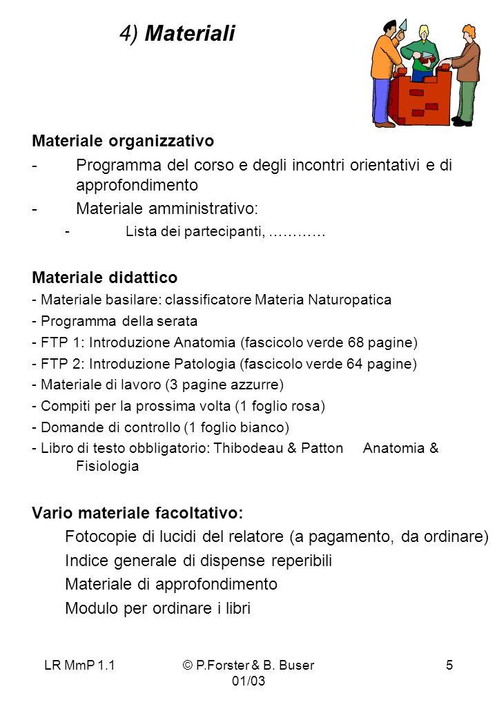 LR MmP 1.1© P.Forster & B. Buser 01/03 5 4) Materiali Materiale organizzativo -Programma del corso e degli incontri orientativi e di approfondimento -