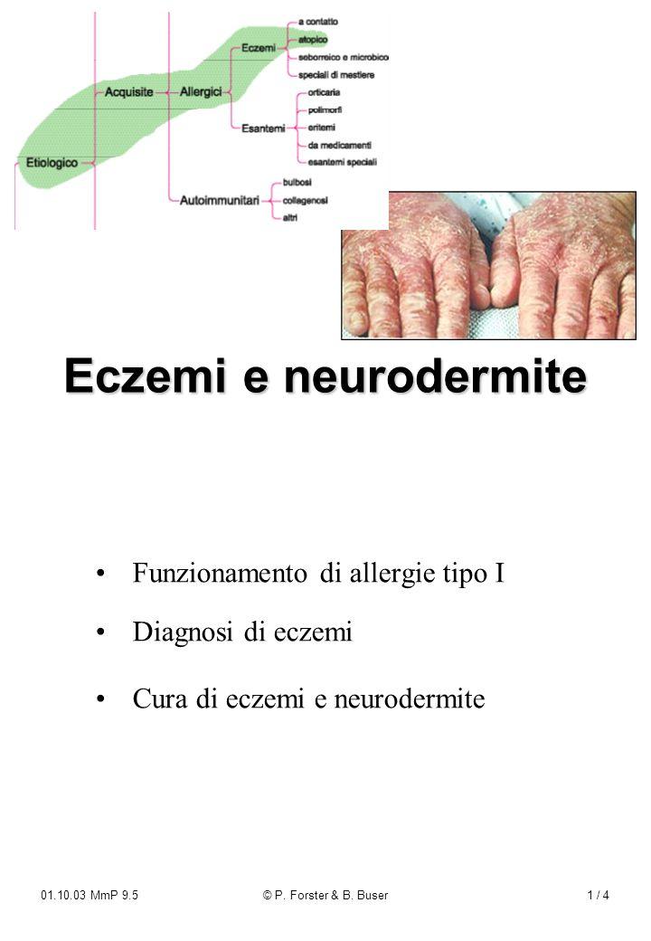 01.10.03 MmP 9.5© P. Forster & B. Buser1 / 4 Funzionamento di allergie tipo IDiagnosi di eczemi Cura di eczemi e neurodermite Eczemi e neurodermite