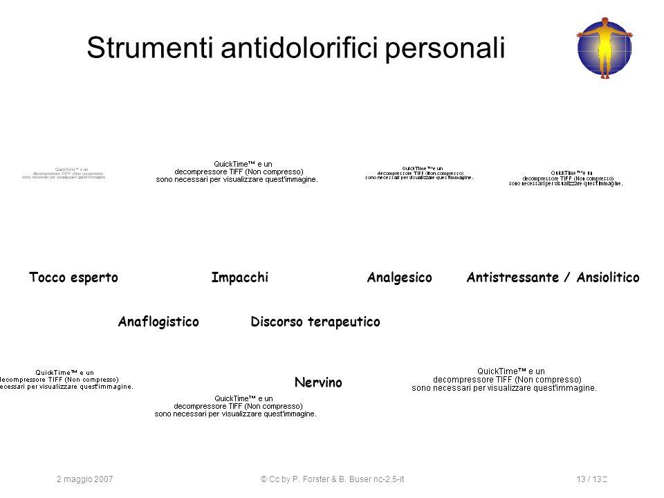 2 maggio 2007© Cc by P. Forster & B. Buser nc-2.5-it13 / 13 Strumenti antidolorifici personali Tocco espertoImpacchiAnalgesicoAntistressante / Ansioli