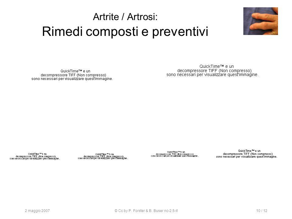 2 maggio 2007© Cc by P. Forster & B. Buser nc-2.5-it10 / 12 Artrite / Artrosi: Rimedi composti e preventivi