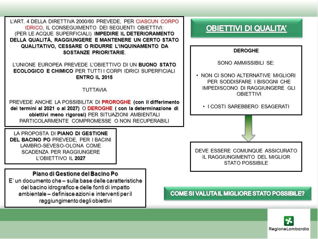 Piano di Gestione del Bacino Po E un documento che – sulla base delle caratteristiche del bacino idrografico e delle fonti di impatto ambientale – def
