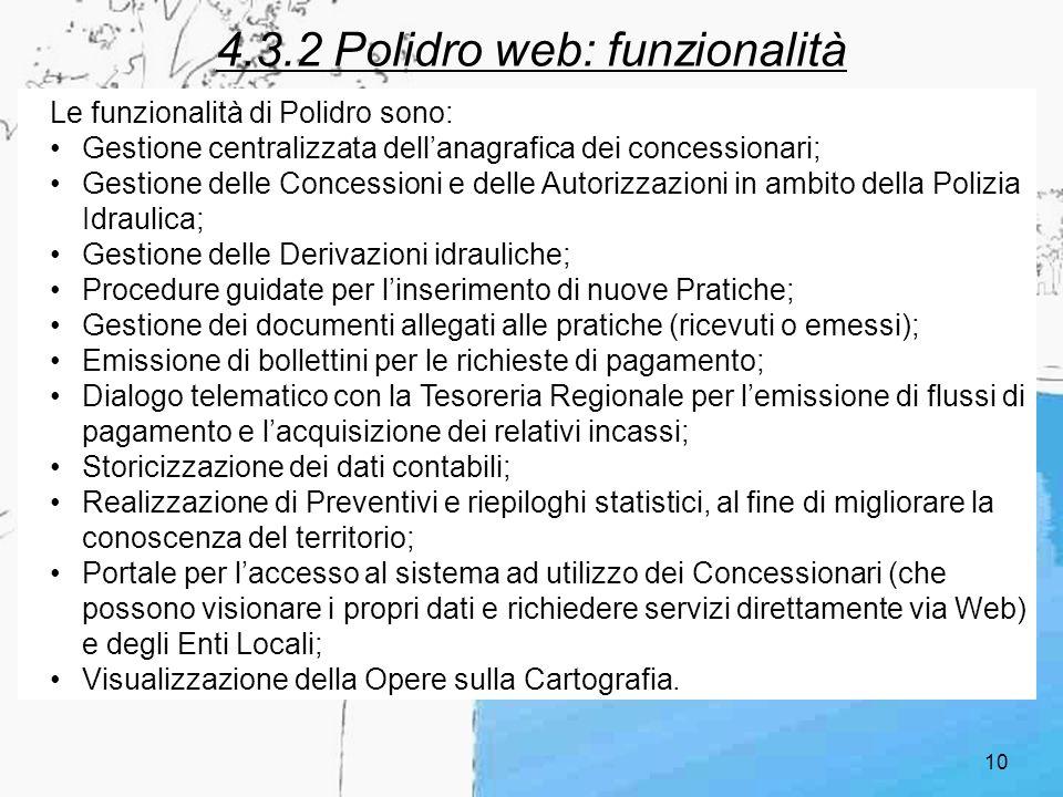 10 4.3.2 Polidro web: funzionalità Le funzionalità di Polidro sono: Gestione centralizzata dellanagrafica dei concessionari; Gestione delle Concession