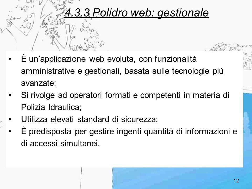 12 4.3.3 Polidro web: gestionale È unapplicazione web evoluta, con funzionalità amministrative e gestionali, basata sulle tecnologie più avanzate; Si