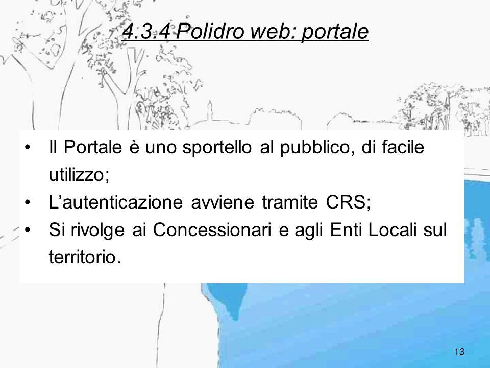 13 4.3.4 Polidro web: portale Il Portale è uno sportello al pubblico, di facile utilizzo; Lautenticazione avviene tramite CRS; Si rivolge ai Concessio
