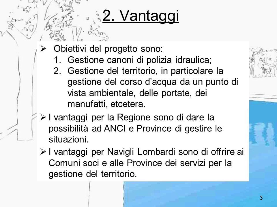 3 2. Vantaggi Obiettivi del progetto sono: 1.Gestione canoni di polizia idraulica; 2.Gestione del territorio, in particolare la gestione del corso dac