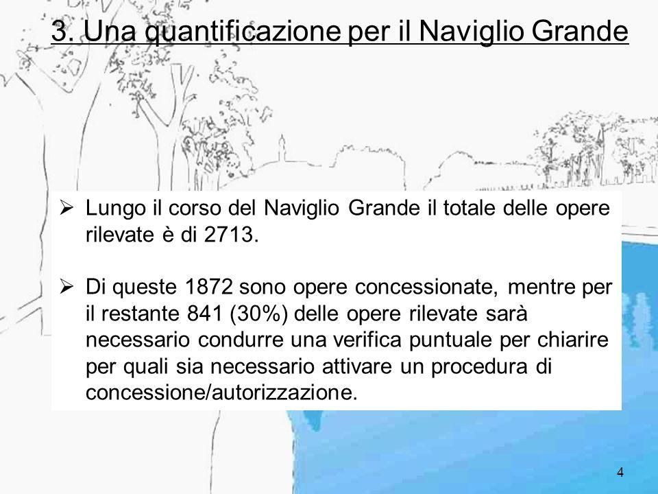 4 3. Una quantificazione per il Naviglio Grande Lungo il corso del Naviglio Grande il totale delle opere rilevate è di 2713. Di queste 1872 sono opere