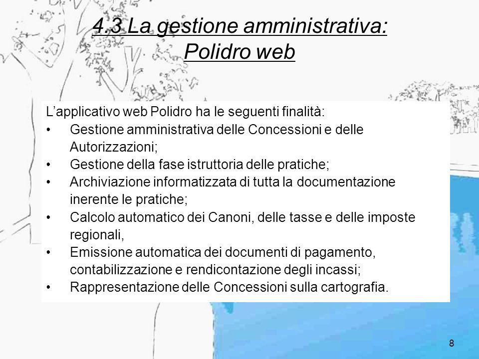 9 4.3.1 Polidro web: accessibilità Lapplicativo web Polidro è fruibile attraverso unarchitettura distribuita basata su internet (WEB) WEB concessionari comuni STER