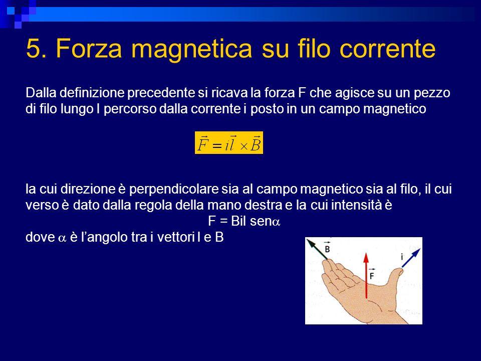 5. Forza magnetica su filo corrente Dalla definizione precedente si ricava la forza F che agisce su un pezzo di filo lungo l percorso dalla corrente i