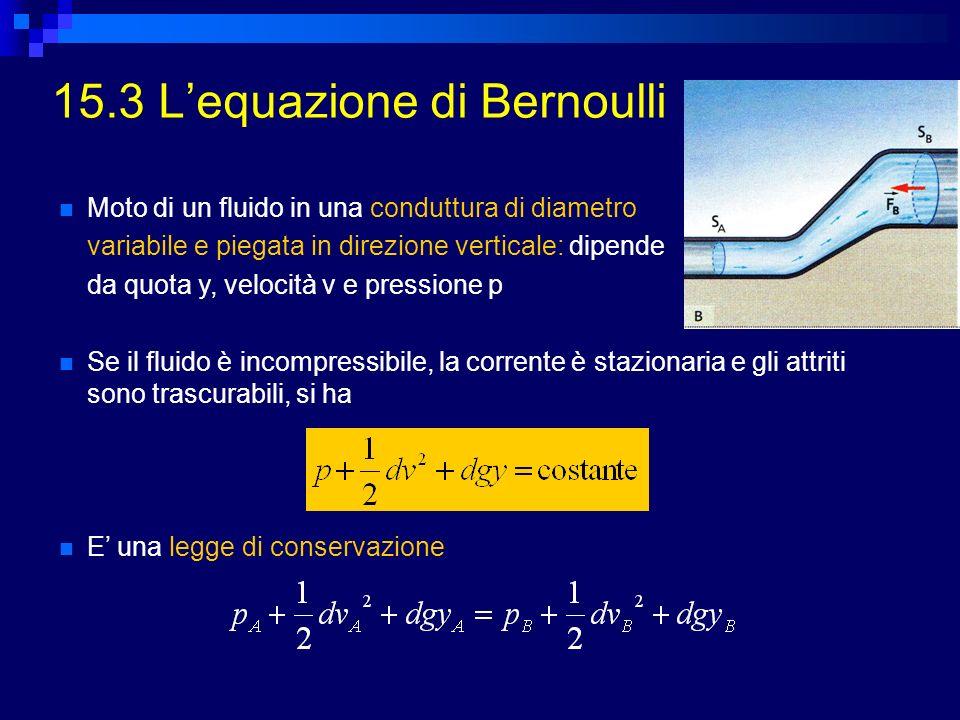 15.3 Lequazione di Bernoulli Moto di un fluido in una conduttura di diametro variabile e piegata in direzione verticale: dipende da quota y, velocità