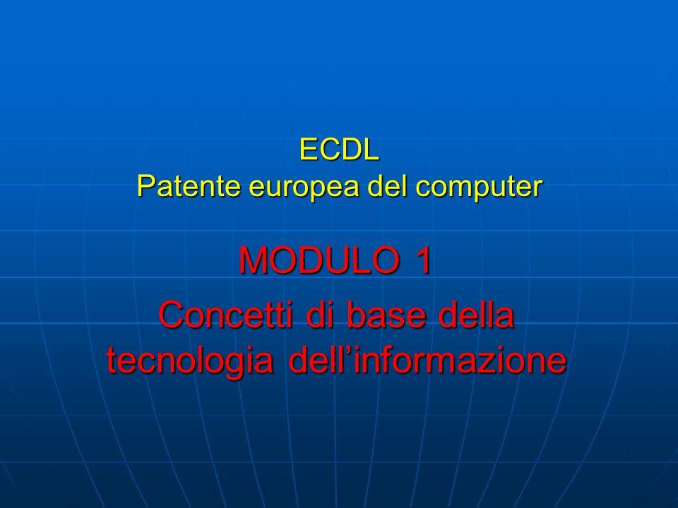 ECDL Patente europea del computer MODULO 1 Concetti di base della tecnologia dellinformazione
