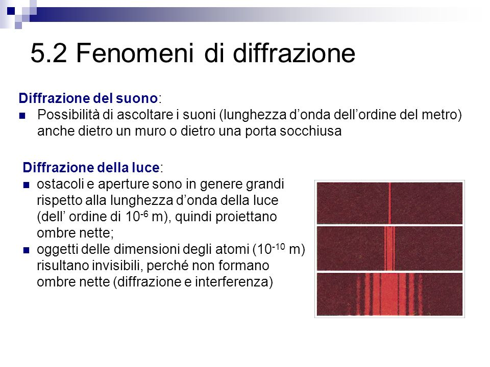5.2 Fenomeni di diffrazione Diffrazione del suono: Possibilità di ascoltare i suoni (lunghezza donda dellordine del metro) anche dietro un muro o diet