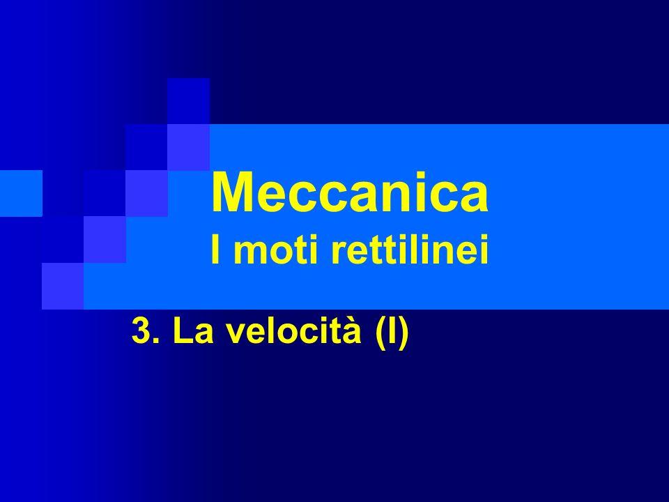 3.1 La meccanica Nei prossimi quattro capitoli studieremo la cinematica La meccanica è quella parte della fisica che studia il movimento La meccanica si compone di tre parti: Staticastudia lequilibrio degli oggetti Cinematicastudia il movimento senza occuparsi delle cause Dinamicastudia la relazione fra moto e cause che lo producono