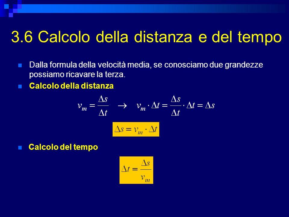 3.6 Calcolo della distanza e del tempo Dalla formula della velocità media, se conosciamo due grandezze possiamo ricavare la terza. Calcolo della dista